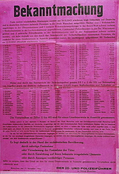 Obwieszczenie o egzekucji 100 zakładników podpisane przez Kutcherę